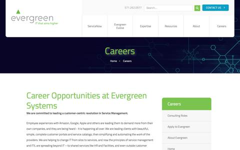 Screenshot of Jobs Page evergreensys.com - IT Career Opportunities - Evergreen Systems - captured Jan. 10, 2018