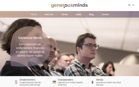 Screenshot of Home Page generous-minds.com - Generous Minds - captured July 3, 2015