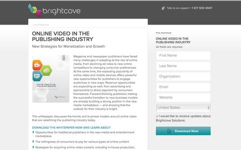Screenshot of Landing Page brightcove.com - Brightcove | Online Video in the Publishing Industry - captured April 21, 2016