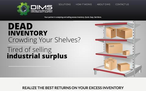 Screenshot of Home Page deadinventorymanagement.com - Dead Inventory Management System | Turning Dead Inventory into Dollars - captured Sept. 12, 2015