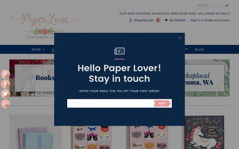 Screenshot of Home Page paper-luxe.com - Custom Wedding Invitations | Cute Stationery and Gifts - Tacoma, WA – Paper Luxe - captured June 11, 2017