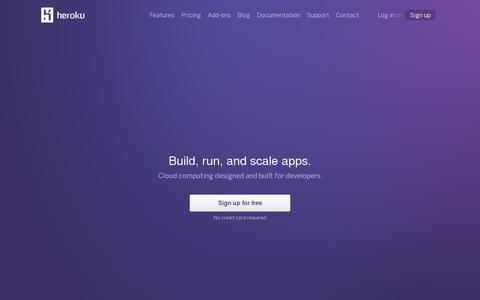 Screenshot of Home Page heroku.com - Heroku | Cloud Application Platform - captured July 11, 2014