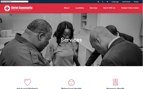 Screenshot of Services Page christcommunityhealth.org - Christ Community Health Services: We're here to help! - captured April 23, 2016