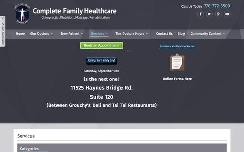 Screenshot of Services Page completefamily.net - Complete Family Health Care - Chiropractor in Alpharetta, GA US :: Services - captured Sept. 28, 2018