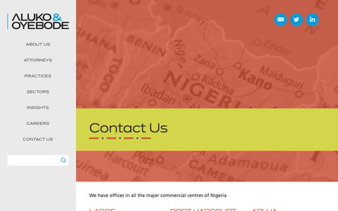 Screenshot of Contact Page aluko-oyebode.com - Contact Us | Aluko & Oyebode | Nigeria's Full-service Law Firm - captured Nov. 6, 2018