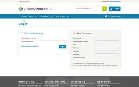 Screenshot of Login Page visiondirect.co.uk - Customer Login | Vision Direct - captured Oct. 26, 2014