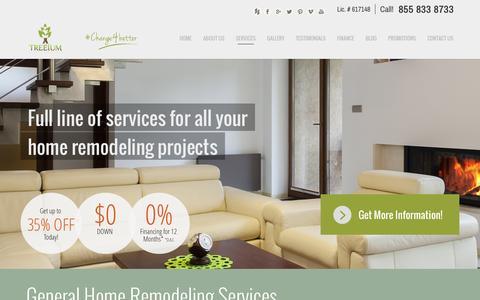 Screenshot of Services Page treeium.com - General Home Remodeling California | Treeium - captured Nov. 5, 2014