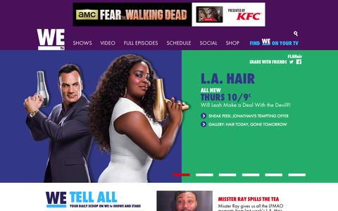 Screenshot of Home Page wetv.com - WE tv - Marriage Boot Camp, Mary Mary, Braxton Family Values, SWV Reunited - captured Oct. 7, 2015