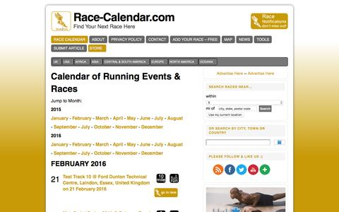 Screenshot of Home Page race-calendar.com - Directory and Calendar Running and Endurance Events - captured Feb. 20, 2016