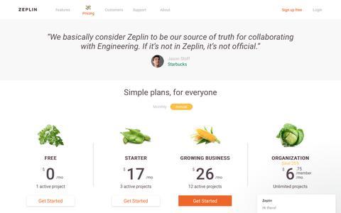 Screenshot of Pricing Page zeplin.io - Zeplin says… - captured July 23, 2017