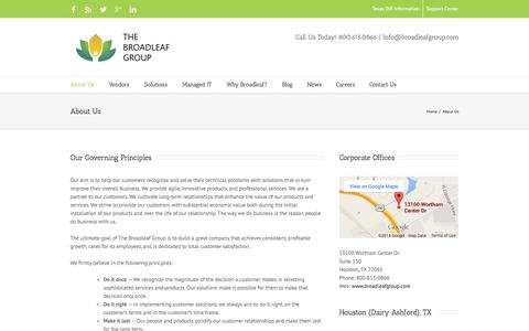 Screenshot of About Page broadleafgroup.com - About Us - The Broadleaf Group - captured Oct. 4, 2014