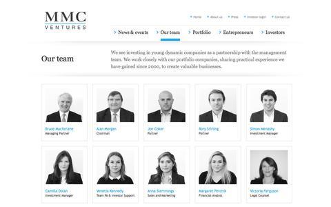 Screenshot of Team Page mmcventures.com - MMC                Our Team - captured Sept. 23, 2014