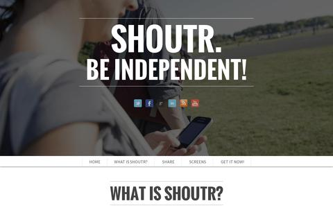 Screenshot of Home Page shoutr.net - shoutr - captured July 11, 2014