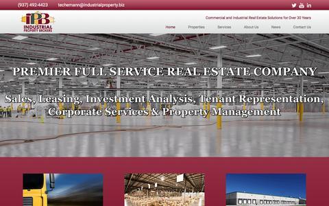 Screenshot of Home Page industrialproperty.biz - Industrial Property Brokers - captured Feb. 10, 2016