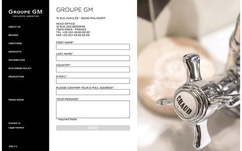 Screenshot of Contact Page groupegm.com - contact - captured Dec. 6, 2015