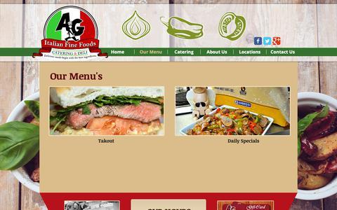 Screenshot of Menu Page agfinefoods.com - A&G Italian Fine Foods | Italian Deli & Catering | Our Menu - captured Sept. 30, 2018