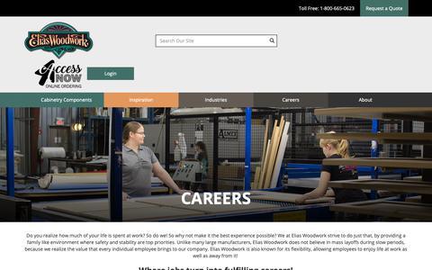 Screenshot of Jobs Page eliaswoodwork.com - Careers - captured Feb. 14, 2019