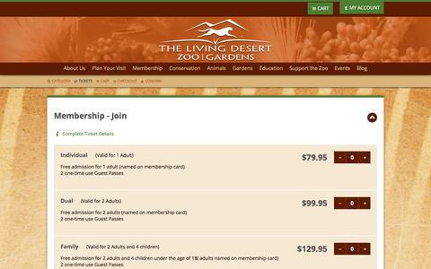 Screenshot of Signup Page livingdesert.org - The Living Desert Web Store :: Ticket Selection - captured Nov. 10, 2017
