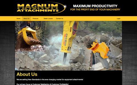 Screenshot of About Page magnumattachments.com - Magnum Attachments - captured Oct. 31, 2014