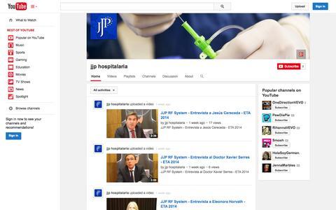 Screenshot of YouTube Page youtube.com - jjp hospitalaria  - YouTube - captured Oct. 23, 2014