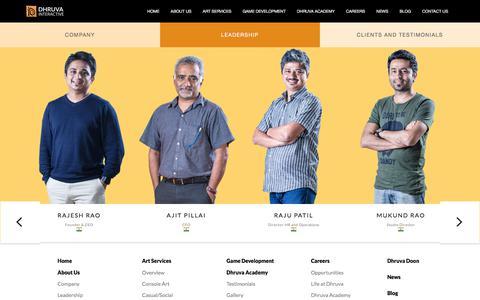 Screenshot of Team Page dhruva.com - Dhruva Leadership Team | Game Art Outsourcing | Video Game Outsourcing | Mobile Game Art Outsourcing | Animation Ousourcing | Best game art outsourcing company - Dhruva Interactive - captured Sept. 23, 2017