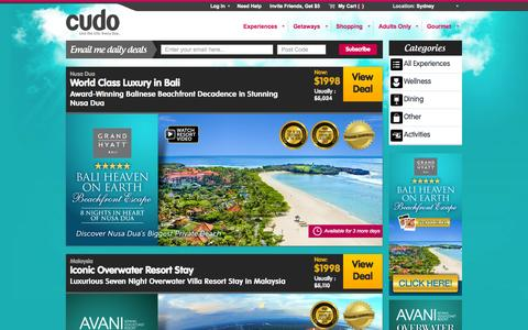 Screenshot of Home Page cudo.com.au - Sydney Experiences, Deals & Vouchers | Unbeatable Sydney Daily Deals @ Cudo - captured Sept. 22, 2014