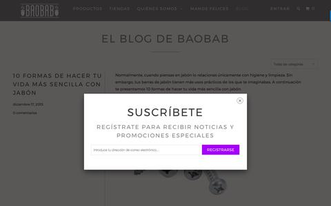 Screenshot of Blog baobabnatural.com - El Blog de Baobab - La vida orgánica y ecológica - BAOBAB - captured Sept. 24, 2017