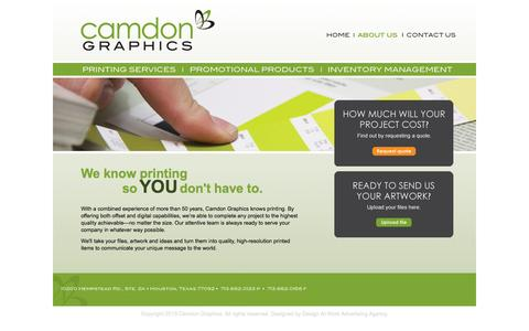 Screenshot of About Page camdongraphics.com - Full Range Offset and Digital Printing in Houston Texas - Camdon Graphics - captured Oct. 22, 2014