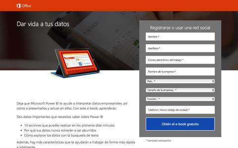 Screenshot of Landing Page office.com - Dar vida a tus datos (Power BI): e-book - captured Sept. 11, 2017