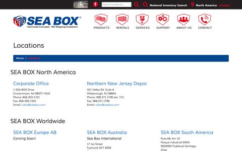 Screenshot of Locations Page seabox.com - SEA BOX | Worldwide Locations - captured Feb. 3, 2016