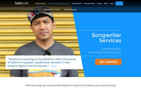 Screenshot of tunecore.com - Collect your Music Royalties | Publishing Administration - captured Oct. 6, 2016