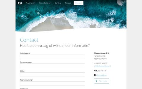 Screenshot of Contact Page channel4you.nl - Contact - Channel4you - captured Sept. 27, 2018