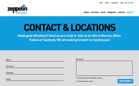 Screenshot of Contact Page Locations Page zeppelin-group.com - Contact & Locations - Zeppelin Group GmbH - Merano - South Tyrol - captured Dec. 12, 2016
