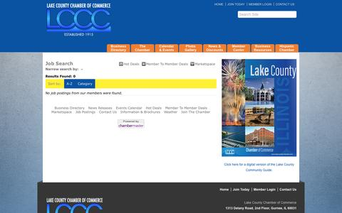 Screenshot of Jobs Page lakecountychamber.com - Job Search - Lake County Chamber of Commerce - IL, IL - captured Oct. 18, 2016