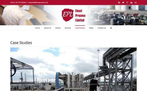 Screenshot of Case Studies Page elmetprocess.co.uk - Engineering Consultancy Case Studies - Elmet Process Ltd - captured Jan. 28, 2016