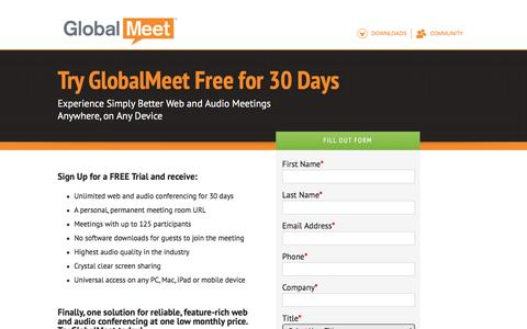 Screenshot of Landing Page pgi.com - Try GlobalMeet by PGi Free for 30 Days - captured Dec. 17, 2015