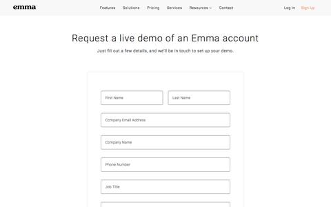 Screenshot of Trial Page myemma.com - Get Started - Email Marketing Contact Form   Emma Email Marketing - captured Nov. 27, 2019