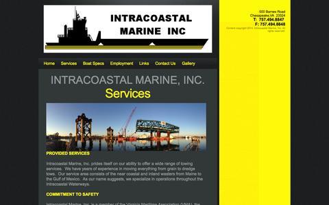 Screenshot of Services Page icmtugs.com - Services | Intercoastal Marine Inc. - captured Oct. 6, 2014