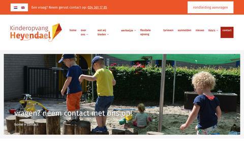 Screenshot of Contact Page kinderopvangheyendael.nl - Contact opnemen met Kinderopvang Heyendael in Nijmegen - captured Sept. 20, 2018
