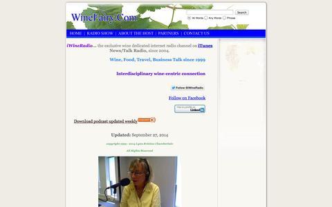 Screenshot of Home Page iwineradio.com - iWineRadio - captured Oct. 6, 2014