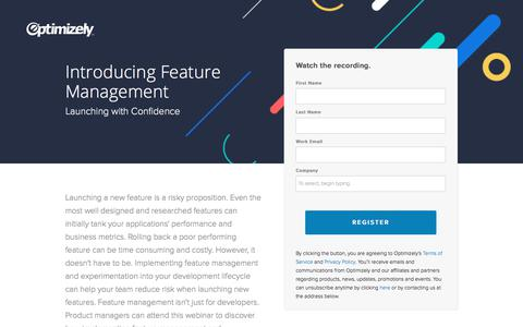 Screenshot of Landing Page optimizely.com - Introducing Feature Management - captured May 17, 2018