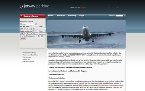 Screenshot of Home Page jetwayparking.com - Orlando Airport Parking - Jacksonville Airport Parking - Jacksonville Cruise Parking - captured Sept. 30, 2014