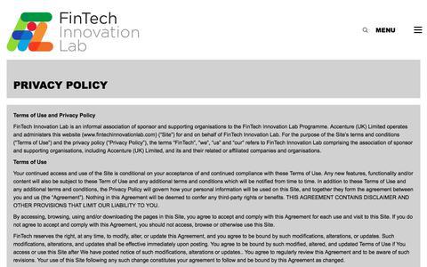 Screenshot of Privacy Page fintechinnovationlab.com - Privacy Policy - FinTech Innovation Lab - captured Nov. 11, 2017