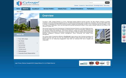 Screenshot of About Page cybage.com - About Us | Overview - Cybage - captured Sept. 19, 2014