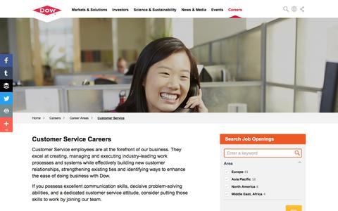 Screenshot of Support Page dow.com - Customer Service Careers | Dow - captured July 1, 2016