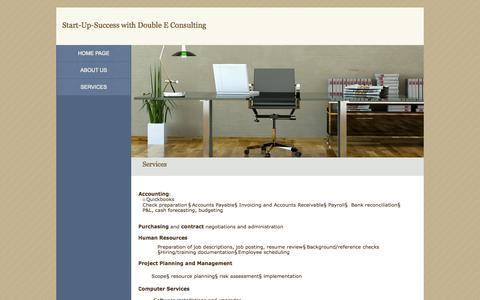 Screenshot of Services Page start-up-success.com - Double E Consulting - Contact Us - captured Oct. 5, 2014