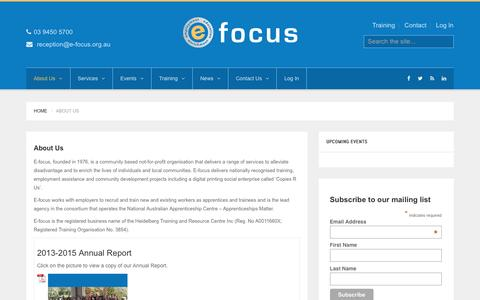 Screenshot of About Page e-focus.org.au - e-focus About Us - e-focus - captured July 8, 2016