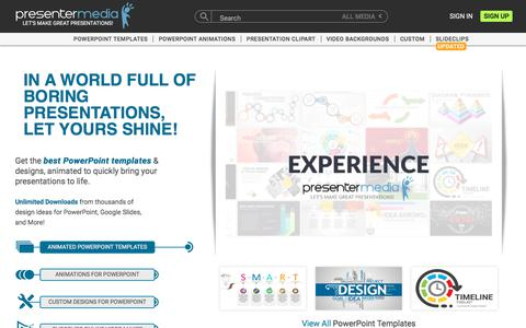 Screenshot of Home Page presentermedia.com - PresenterMedia - PowerPoint Templates, 3D Animations, and Clipart - captured Feb. 13, 2020