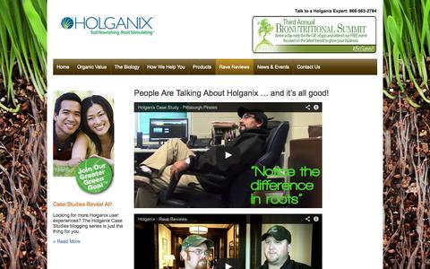 Screenshot of Testimonials Page holganix.com - Holganix - Holganix testimonials - captured Oct. 28, 2014