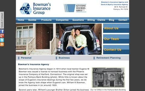 Screenshot of About Page bowmansinsurance.com - Bowman's Insurance Agency, a local independent insurance agency located in Palmyra, Pennsylvania - captured Oct. 6, 2018